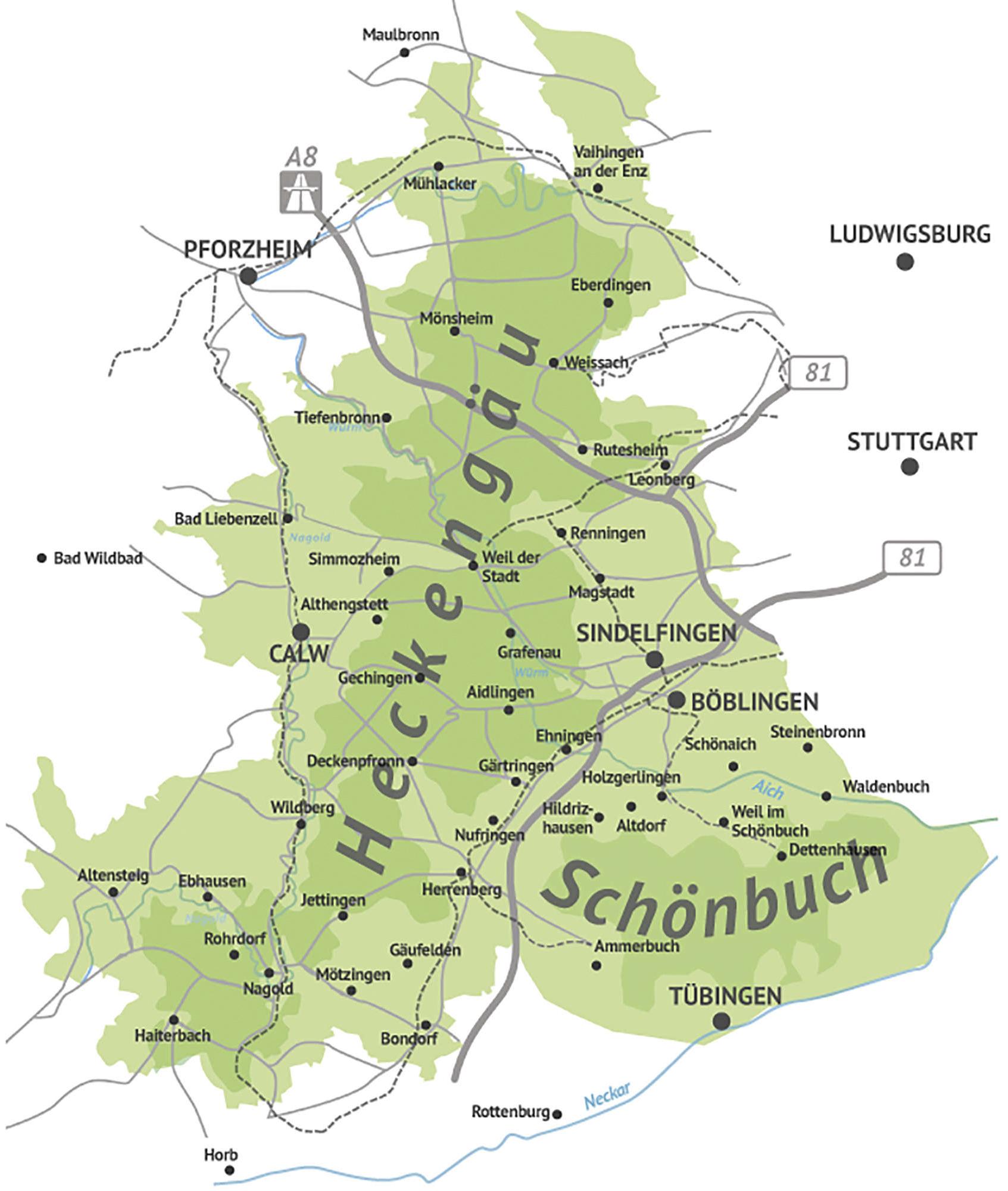 Karte Schönbuch und Heckengäu